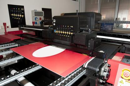 Printer printing a banner